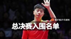 乒联总决赛 | 马龙樊振东许昕入围,女单国乒占八席