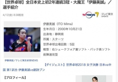 日媒:伊藤是中国队最大威胁 强心脏成获胜武器