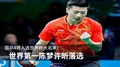 国乒4将入选世界杯大名单!世界第一陈梦许昕落选