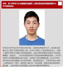 """许昕入围上海市""""劳模年度人物"""" 简历爆表"""