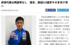 日乒协不再重新选拔奥运阵容 张本伊藤继续冲金